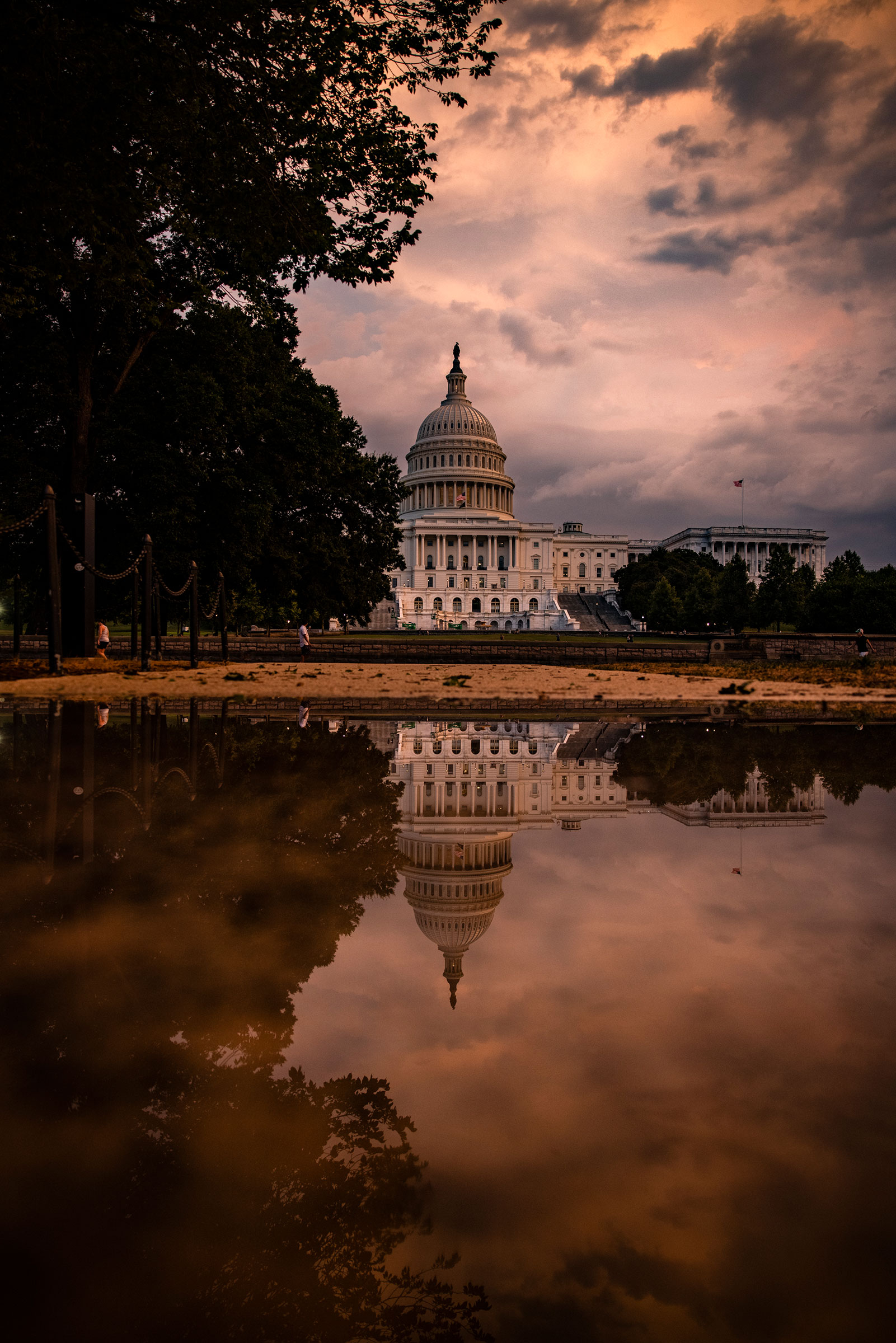 The Capitol Building is seen as the sun sets on Capitol Hill on July 26, 2021.