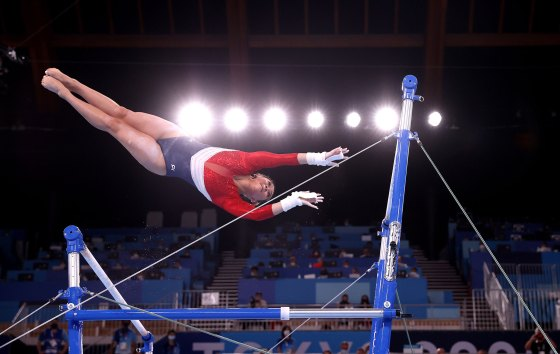 Sunisa Lee of Team United States competes in the uneven bars during the Women's Team Final of the Tokyo 2020 Olympic Games on July 27, 2021.