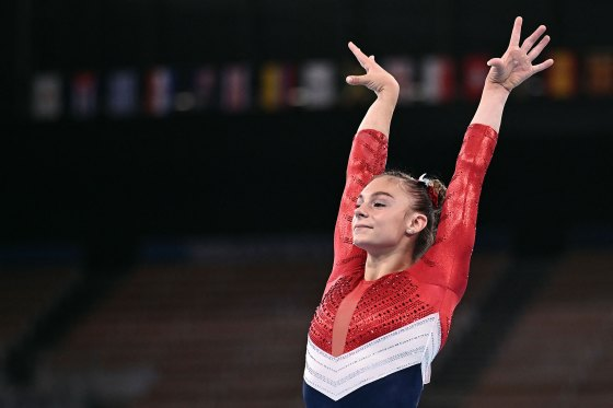 Grace McCallum competes in the balance beam event of the artistic gymnastics women's team final on July 27.