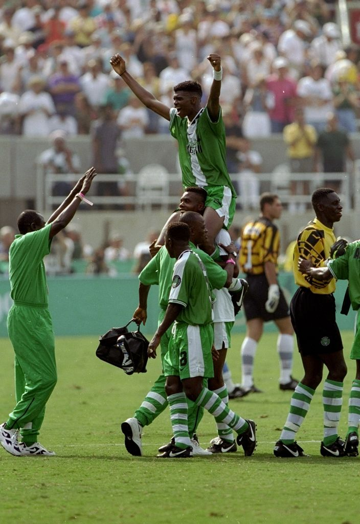 Nigerian Captain Nwankwo Kanu is carried by teammates after their victory in the Men's Soccer Final over Argentina during the Centennial Olympic Games in Atlanta