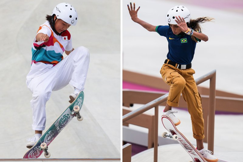 Momiji Nishiya of Team Japan competes during the Women's Street Final of the Tokyo 2020 Olympic Games; Rayssa Leal of Brazil competes during the Women's Street preliminary round; Nishiya won the gold medal, and Leal took silver.
