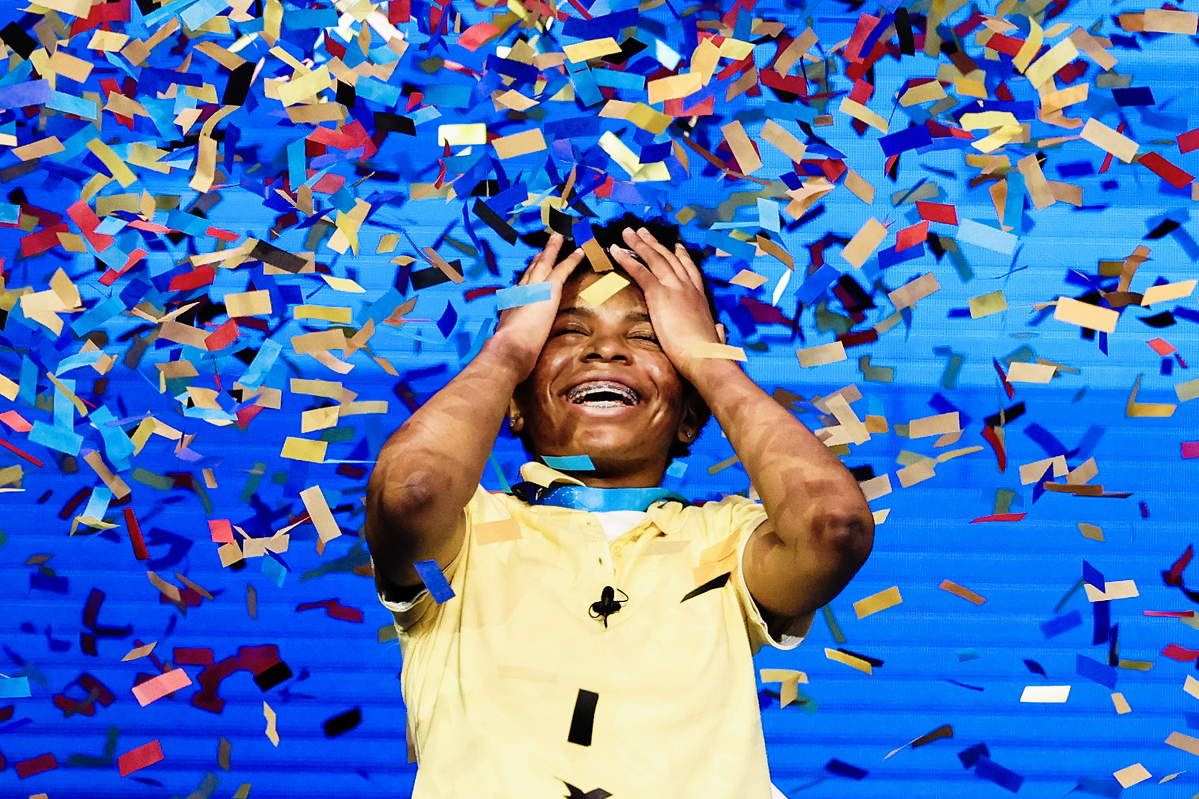 Zaila Avant-garde, 14, reacts to winning the Scripps National Spelling Bee in Orlando, Fla., on July 8, 2021. She became the first Black American to win and hold the title of national spelling bee champion.