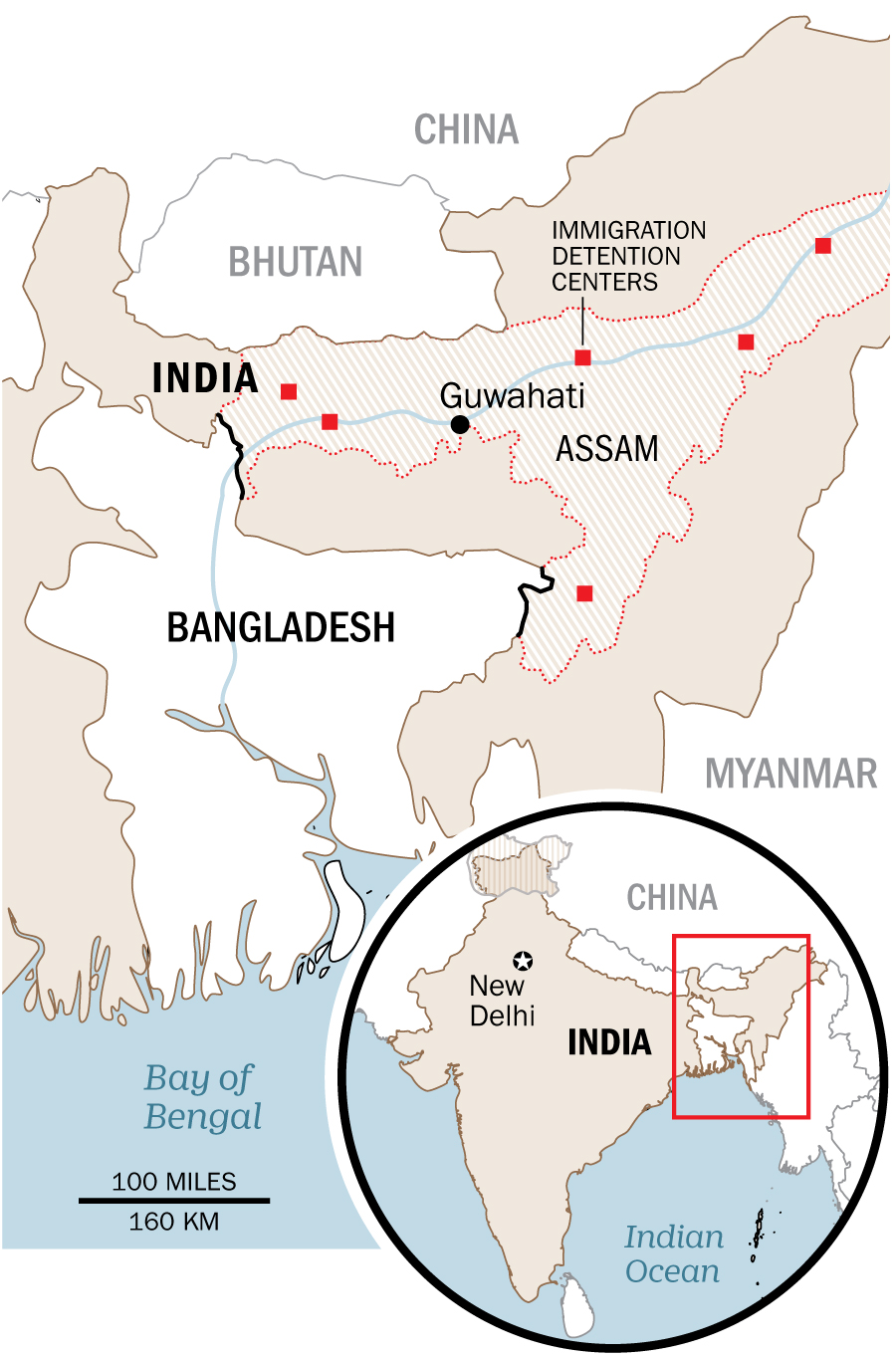 Currently, there are six detention centers for people who are found to be noncitizens in Assam. They have a combined capacity of 3,300 people