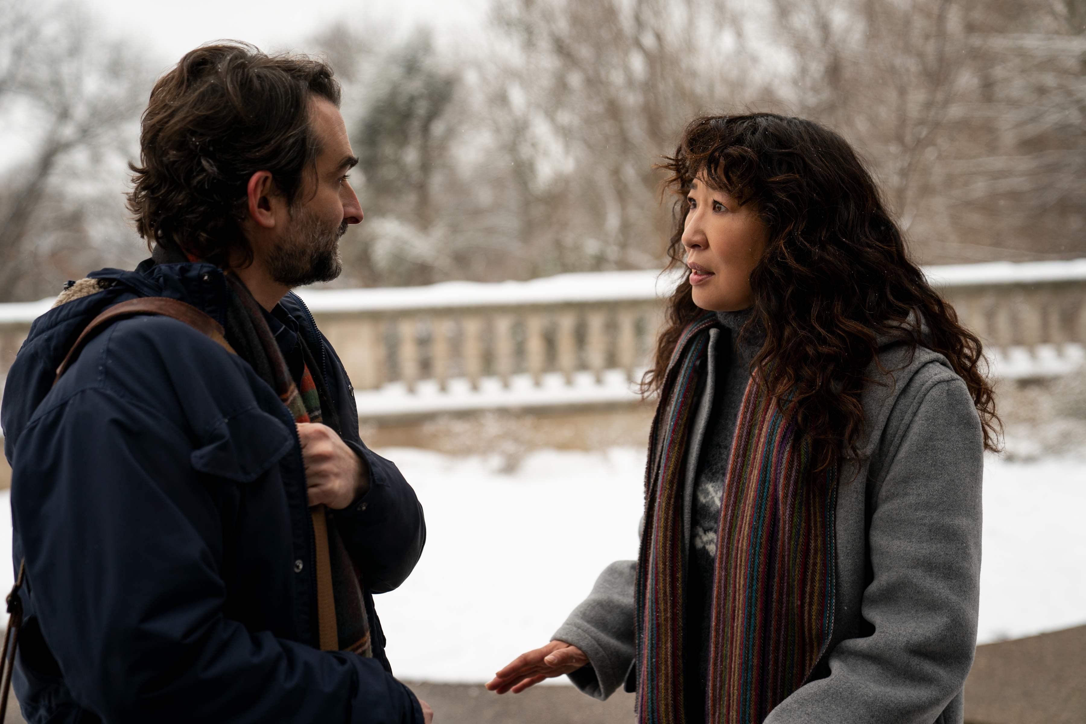 Jay Duplass and Sandra Oh in 'The Chair'