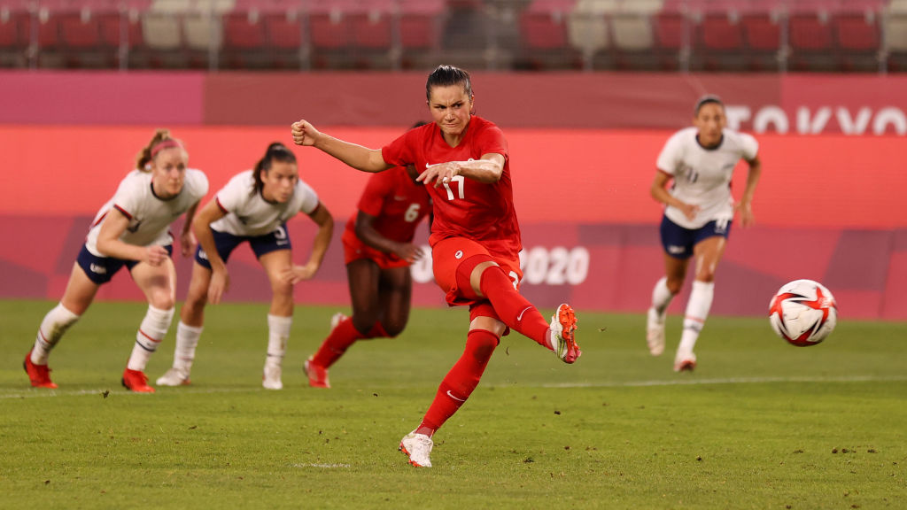 Jessie Fleming #17 of Team Canada scores their side's first goal from the penalty spot during the Women's Semi-Final match between USA and Canada on day ten of the Tokyo Olympic Games at Kashima Stadium on August 02, 2021 in Kashima, Ibaraki, Japan.