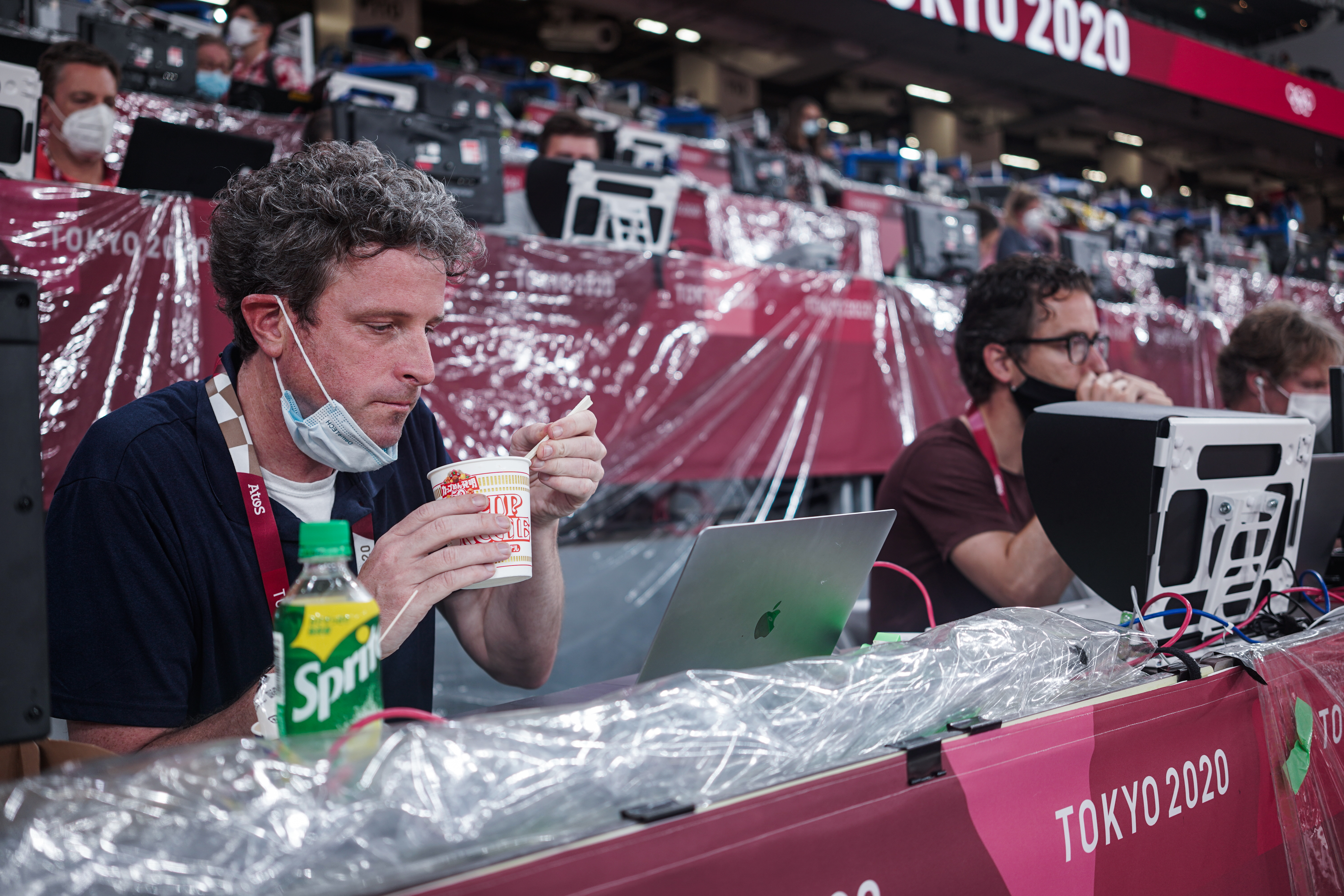 Gregory eating one of his go-to meals while covering track and field in Tokyo