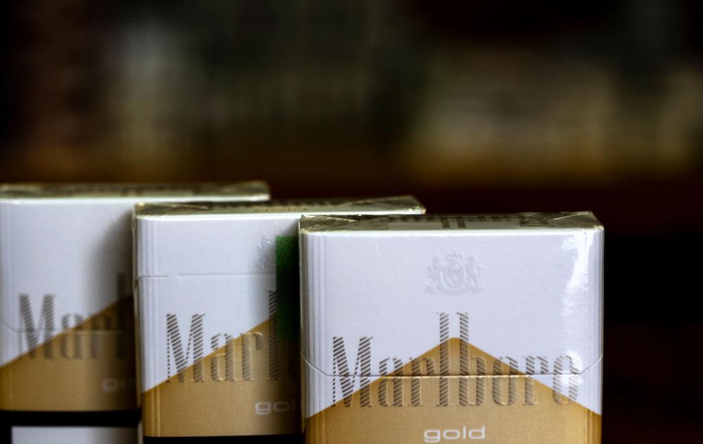 A pack of Philip Morris International Inc. Marlboro Gold cigarettes seen in a Tobacco Store.