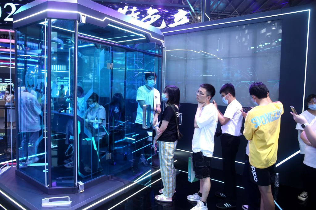 SHANGHAI, CHINA - JULY 9, 2021 - A photo taken on July 9, 2021 shows Tencent's game Honor of Kings at the Electronic Sports Human PK AI competition held at the World Artificial Intelligence Conference 2021 in Shanghai, China.