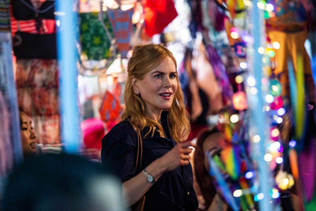Actress Nicole Kidman films a scene in a market in Hong Kong on August 23, 2021, from the Amazon Prime Video series titled Expats, a show based on a 2016 book by Janice YK Lee about the gilded lives of three American women in the city.