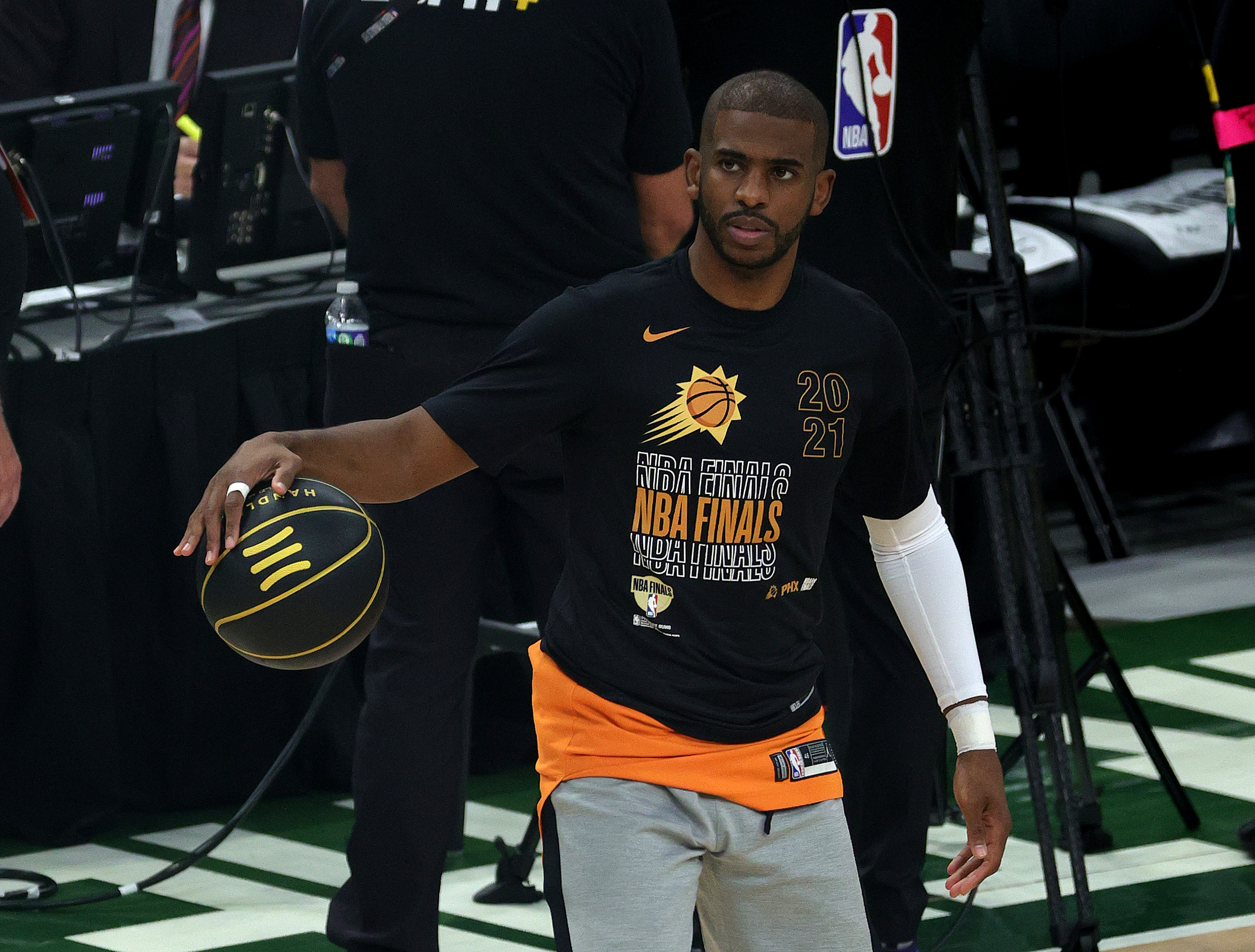 Chris Paul of the Phoenix Suns warms up before Game Four of the NBA Finals against the Milwaukee Bucks at Fiserv Forum on July 14, 2021 in Milwaukee, Wisconsin.