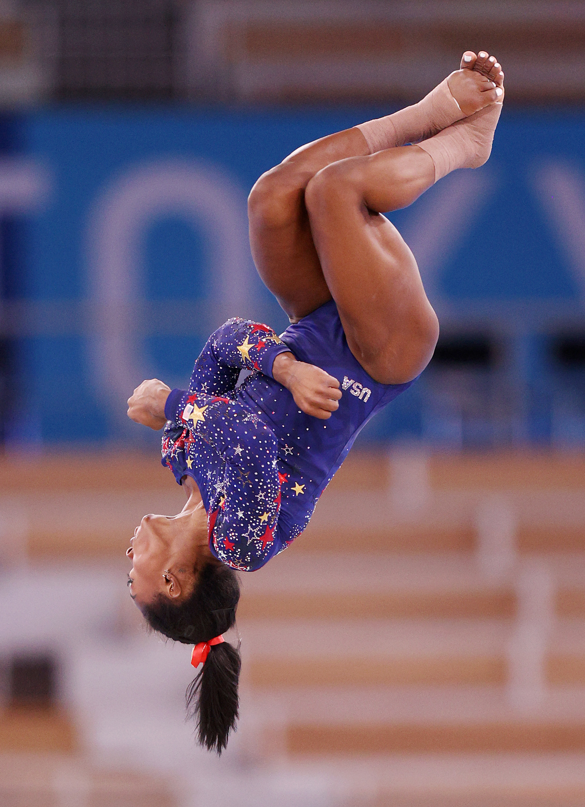 American gymnast Simone Biles competes at the Tokyo 2020 Olympic Games on July 25, 2021