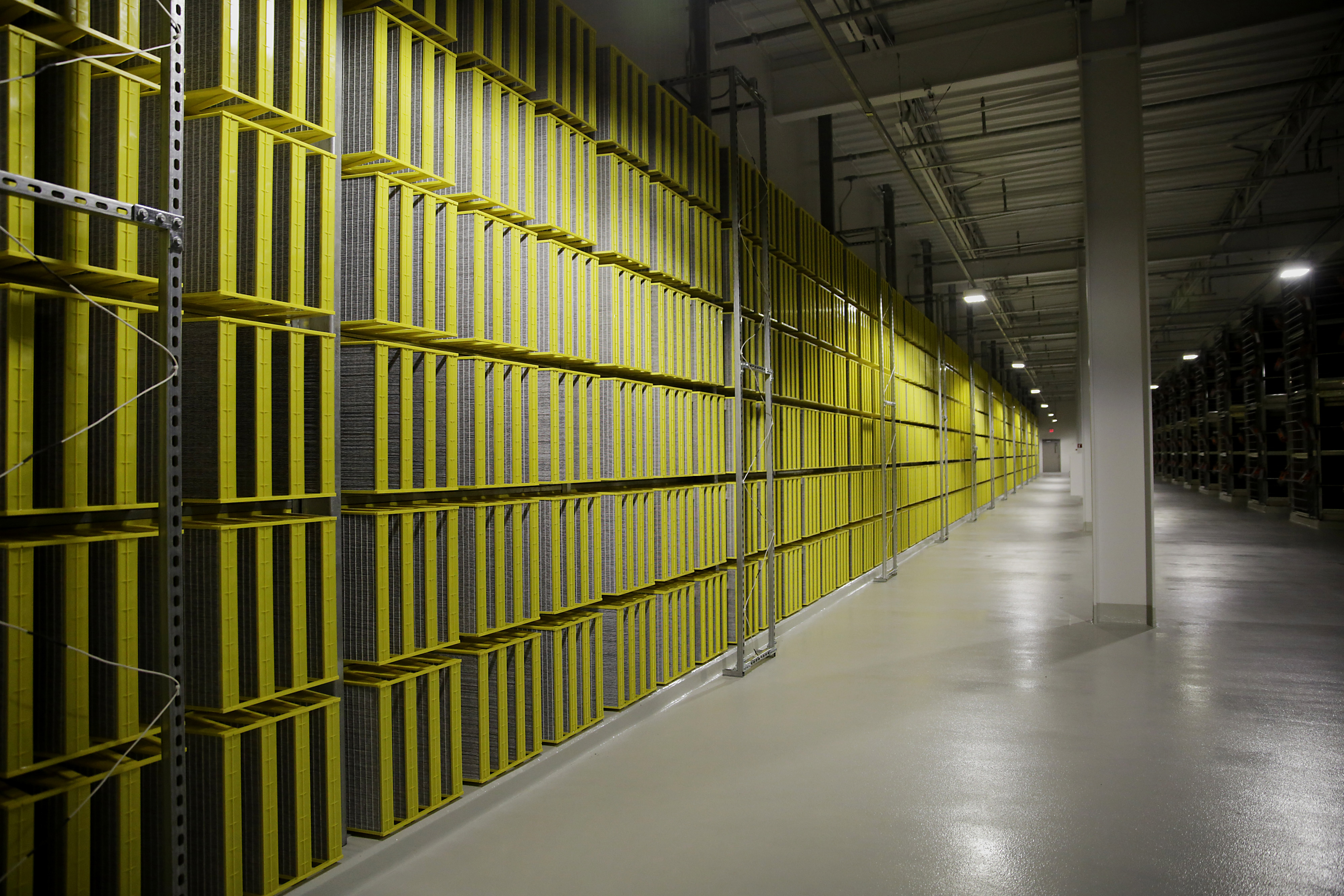 Filters that are part of a cooling system line a room inside the Facebook data center in Prineville, Oregon, in 2014.
