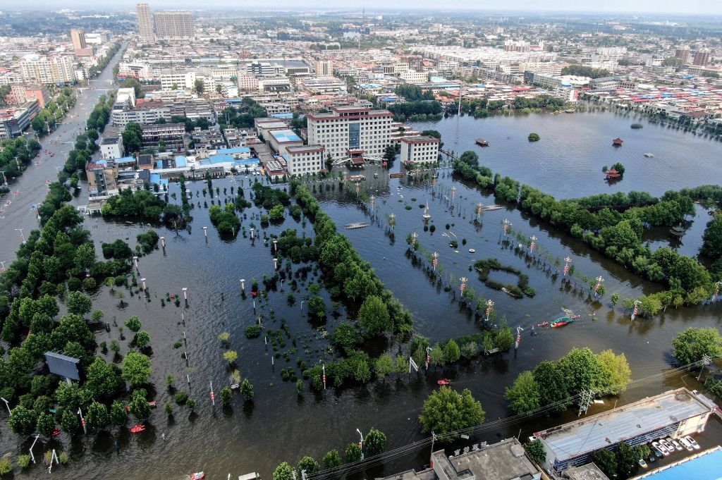 A flooded area in Weihui, Xinxiang city, in China's central Henan province, on July 26, 2021.