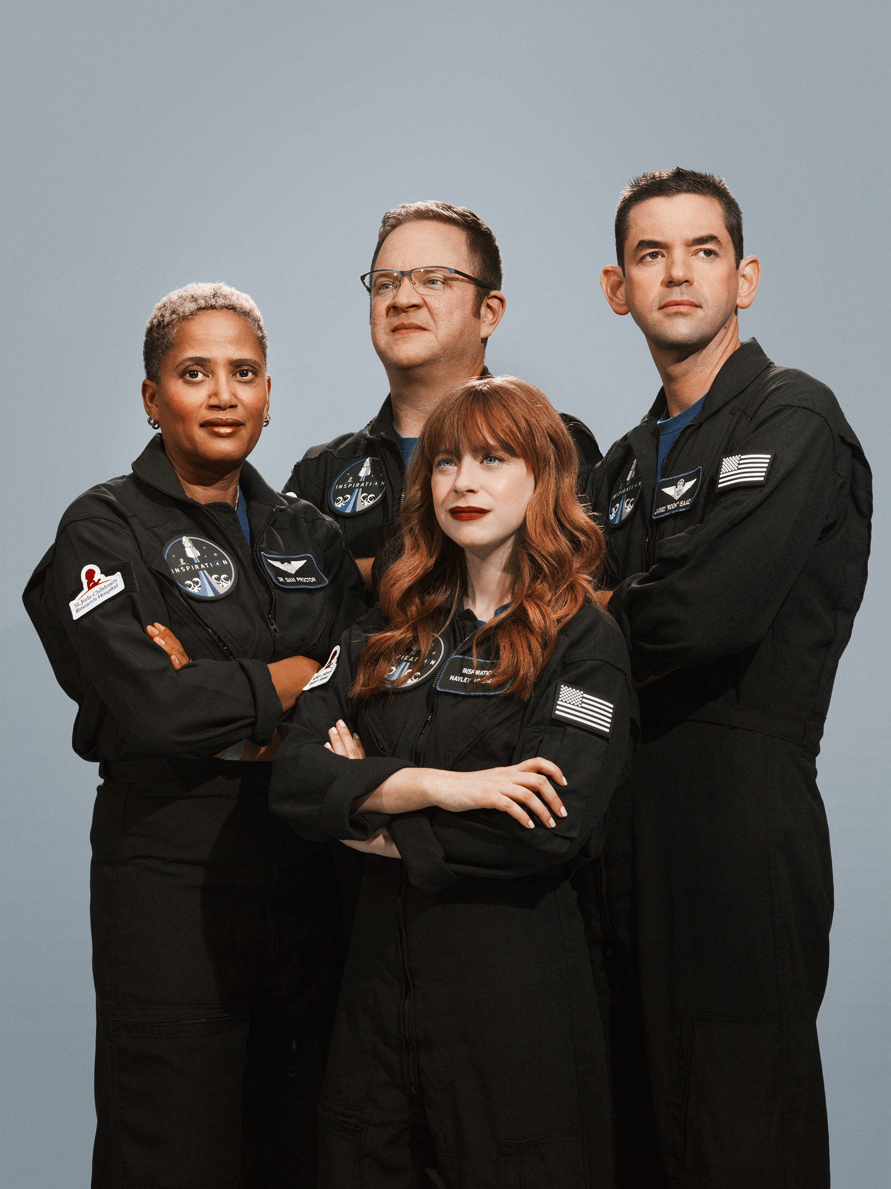 The crew of the Inspiration4, the world's first all-civilian mission to orbit. From left: Dr. Sian Proctor, Chris Sembroski, Hayley Arceneaux, and Jared Isaacman photographed in Los Angeles, July 2021.