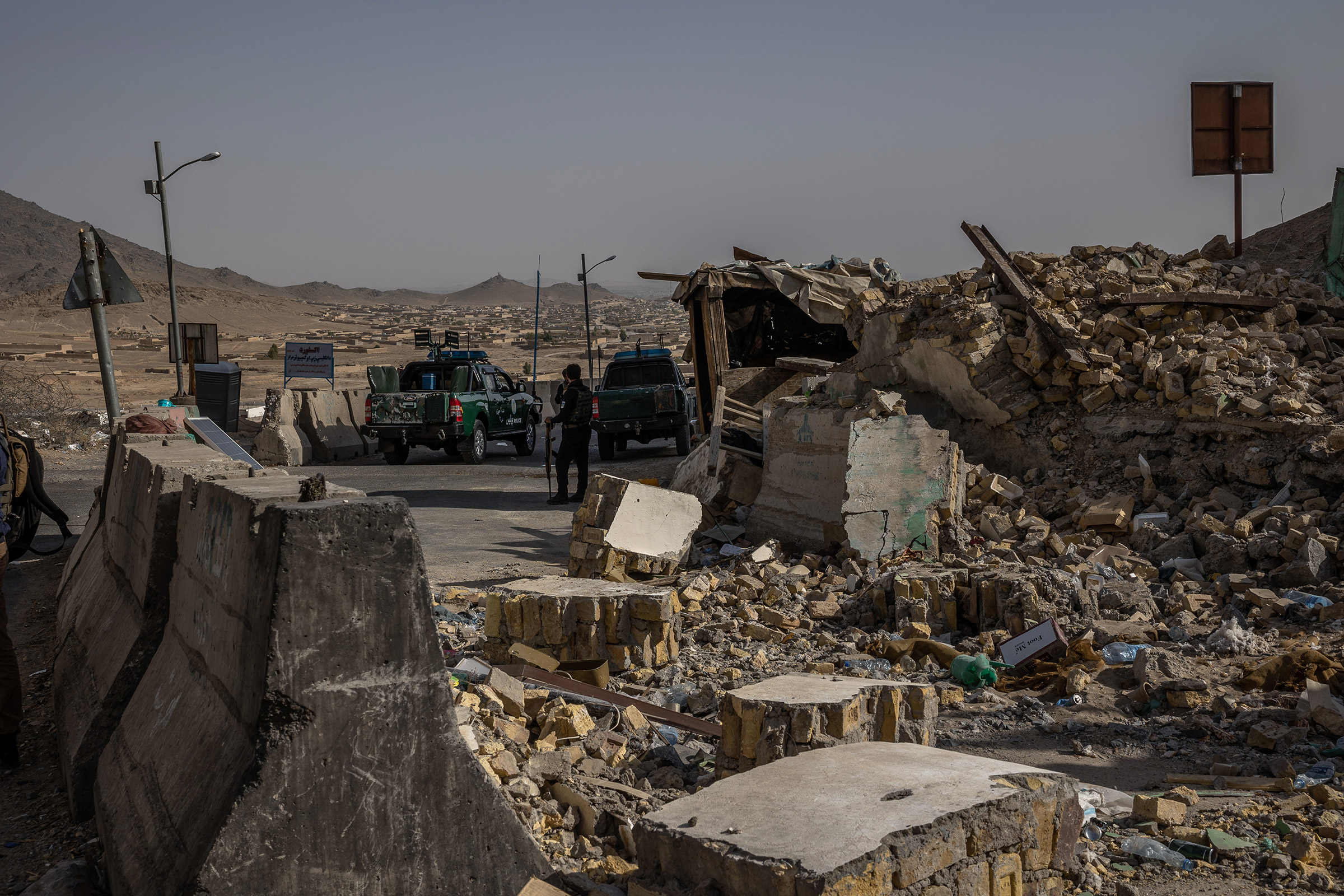 A police outpost, that was destroyed by the Taliban, in Kandahar, Afghanistan on Aug. 4, 2021.