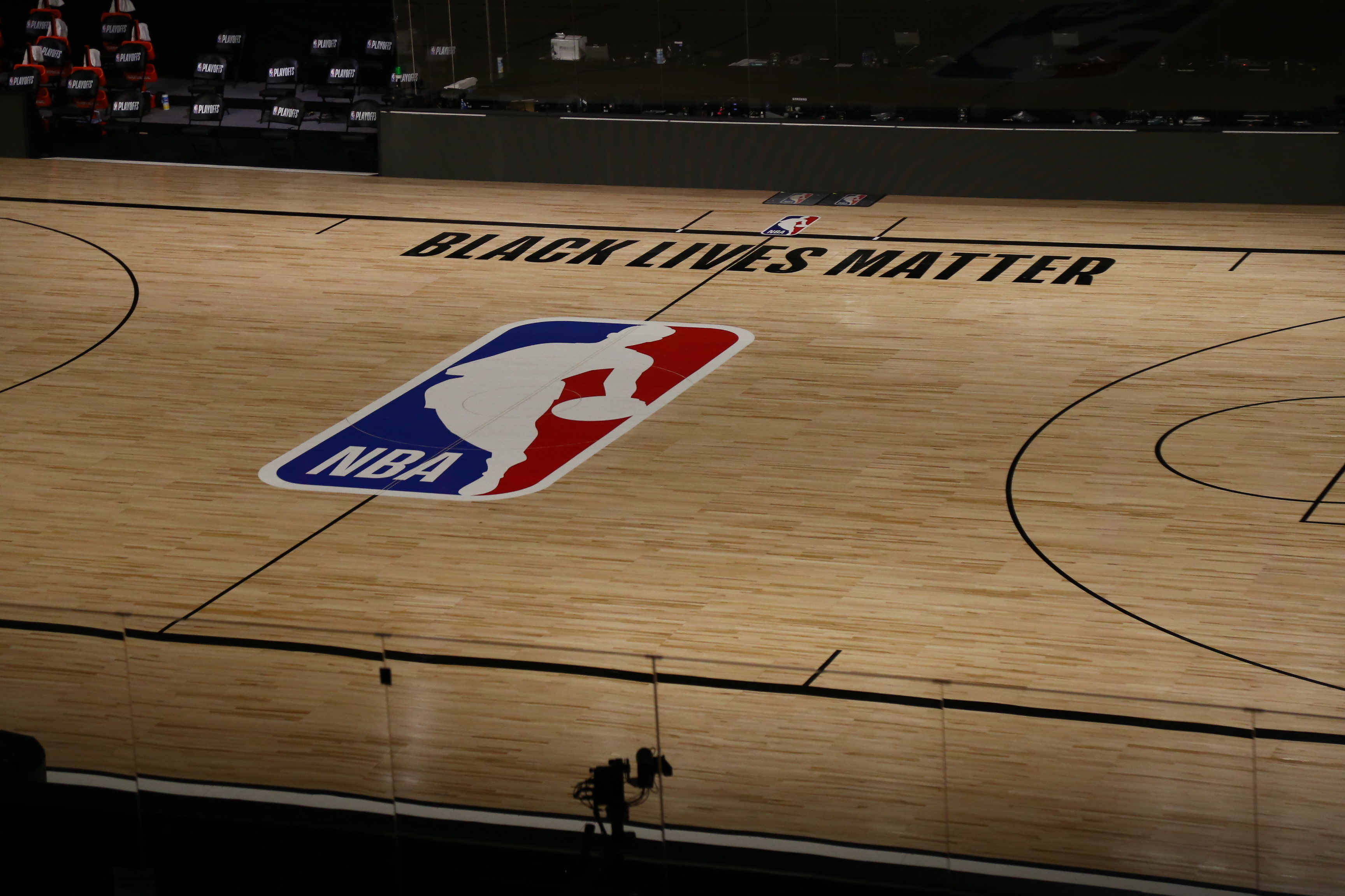 A general view inside The Field House before Game 5 of an NBA basketball first-round playoff series, between the Oklahoma City Thunder and Houston Rockets, Wednesday, Aug. 26, 2020, in Lake Buena Vista, Fla. NBA players made their strongest statement yet against racial injustice Wednesday when the Milwaukee Bucks didn't take the floor for their playoff game against the Orlando Magic.