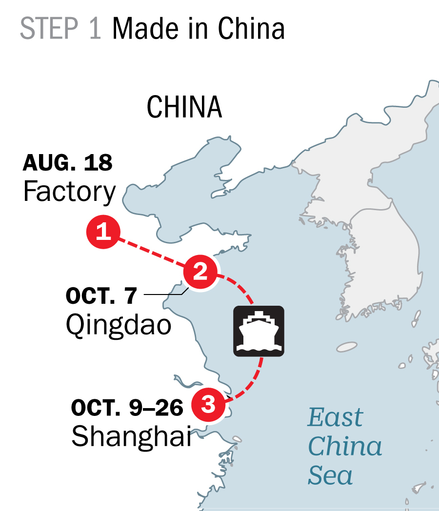 The container left the factory but then got delayed in Shanghai.