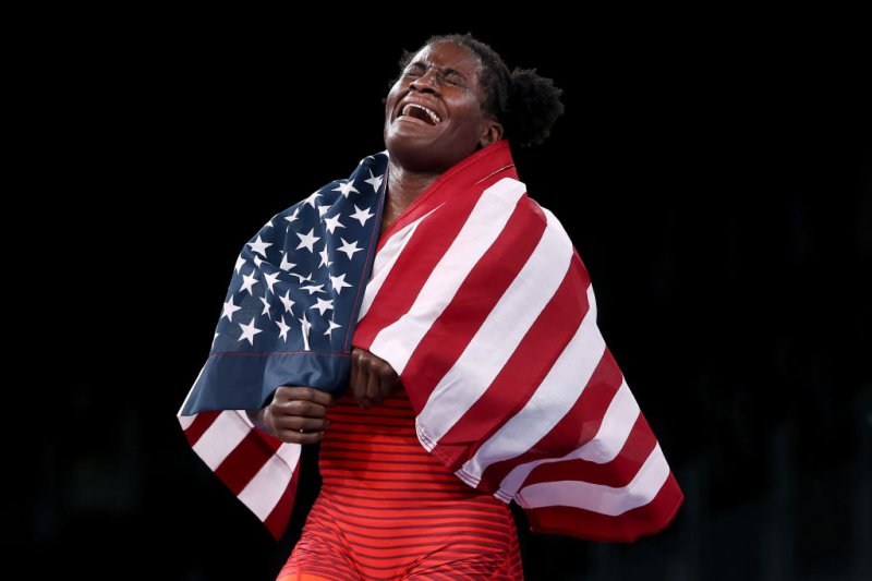 Tamyra Mariama Mensah-Stock of Team USA celebrates defeating Blessing Oborududu of Team Nigeria during the Women's Freestyle 68kg Gold Medal Match on day eleven of the Tokyo Olympics at Makuhari Messe Hall on Aug. 03, 2021 in Chiba, Japan.