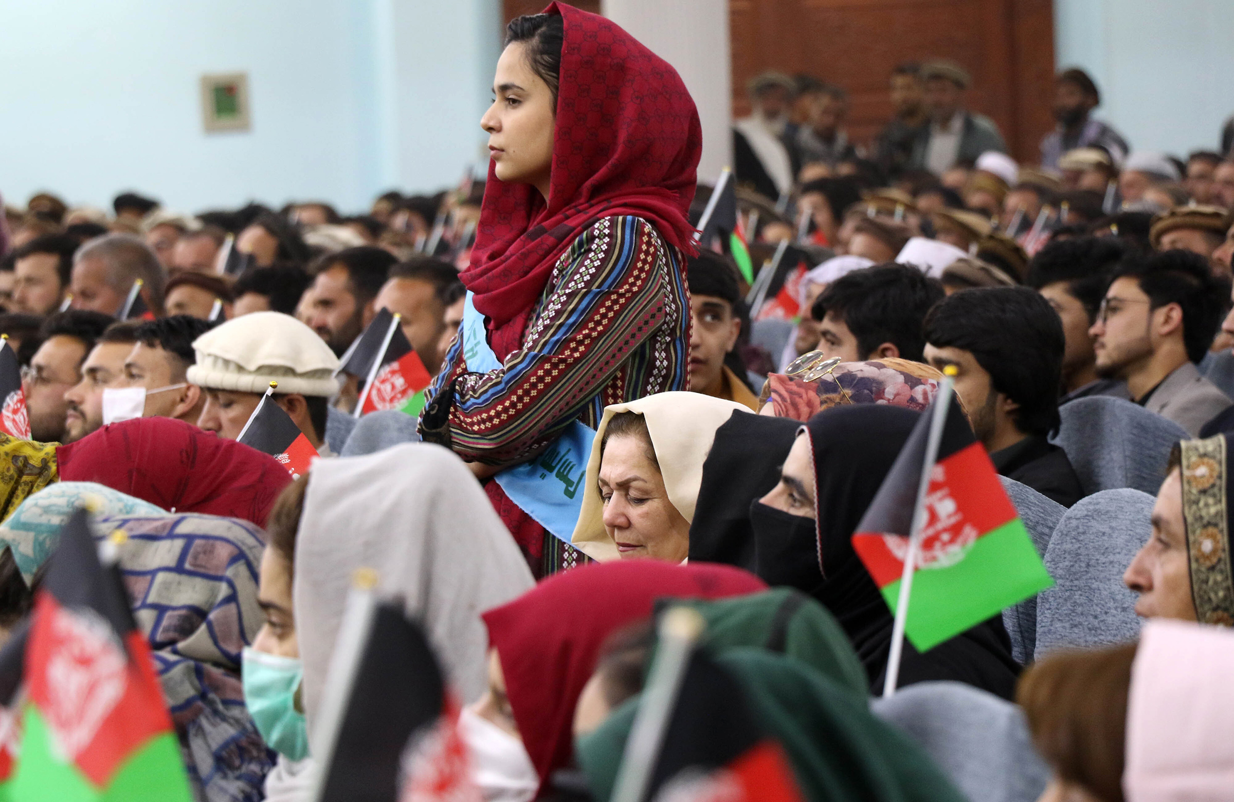 Afghan women, youths, activists and elders gather at a rally to support peace talks and the republic government in Kabul, Afghanistan, on March 29, 2021. According to the reports, Turkey will host the Afghanistan peace-talks summit in the upcoming days.