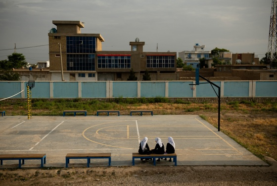 Students at the all-girls Marshal Dostum School in Sheberghan, Afghanistan, May 5, 2021. Sheberghan, in Jowzjan Province, collapsed less than 24 hours after a provincial capital in southwestern Afghanistan had fallen to the Taliban.