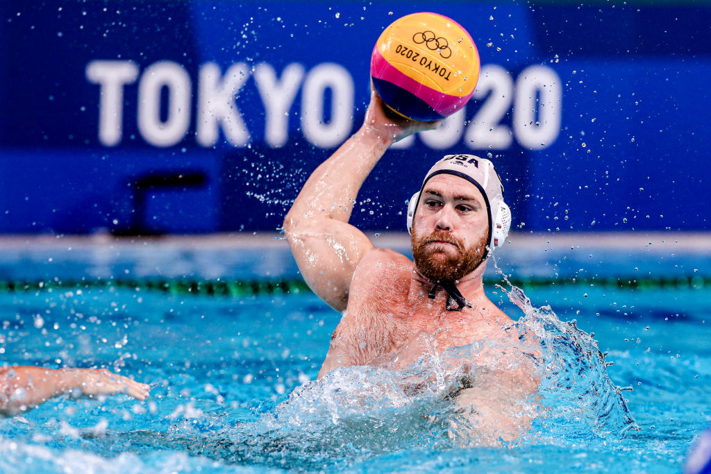 Alex Bowen of Team USA during the Tokyo 2020 Olympic Waterpolo Tournament Men's match between the U.S. and Italy at Tatsumi Waterpolo Centre on July 29, 2021 in Tokyo, Japan.