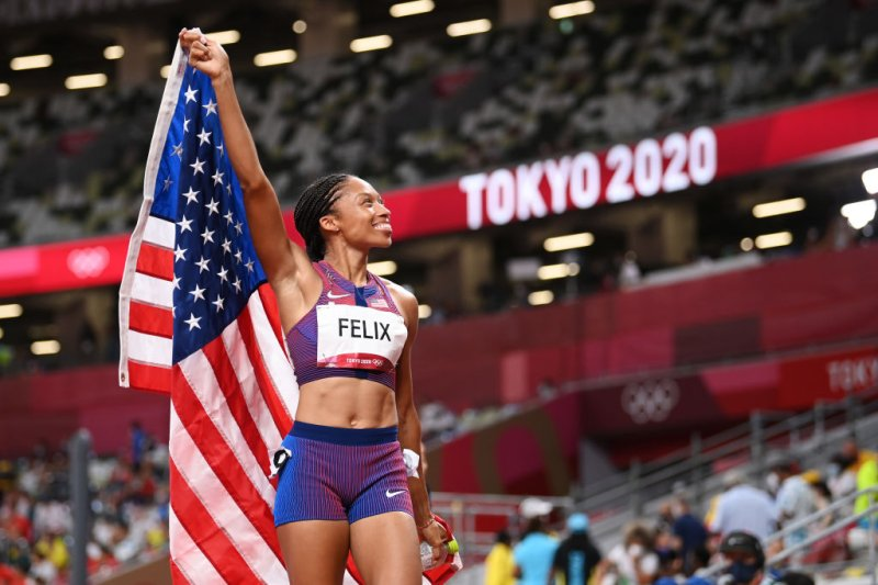 Allyson Felix of Team USA reacts after winning the bronze medal in the Women's 400-m final on day fourteen of the Tokyo 2020 Olympic Games at Olympic Stadium on Aug. 06, 2021 in Tokyo, Japan.