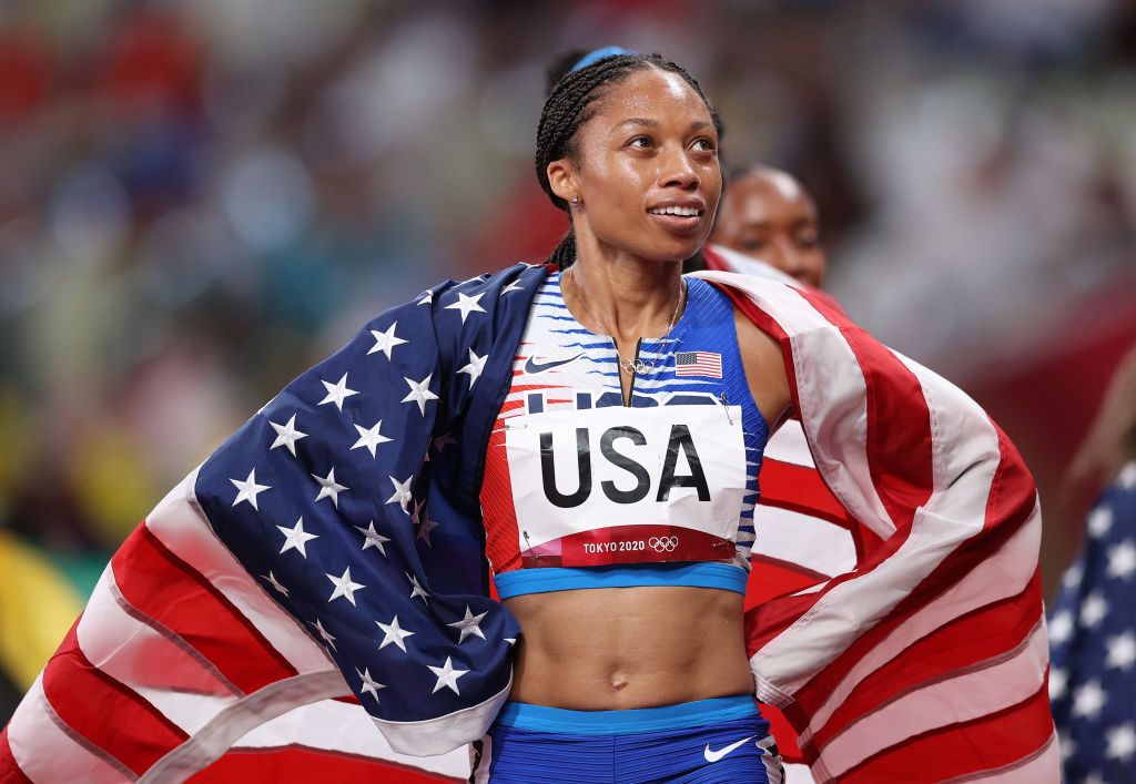 Allyson Felix of Team USA reacts after winning the gold medal in the Women' s 4x400-m Relay Final of the Tokyo 2020 Olympic Games at Olympic Stadium on Aug. 07, 2021 in Tokyo, Japan.