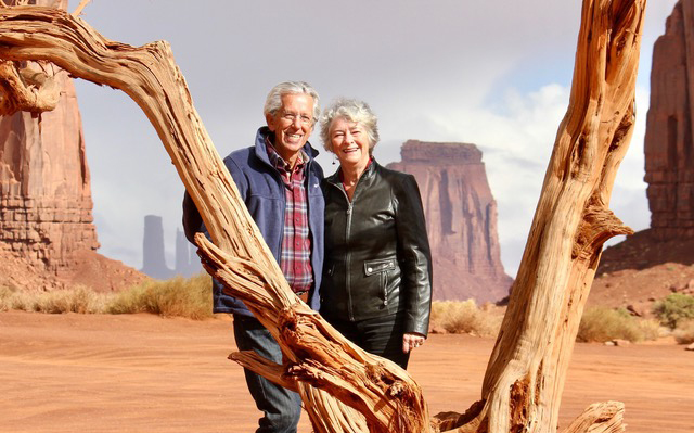 Geri Taylor, right, with her husband Jim in Monument Valley, Az., Oct. 2018.