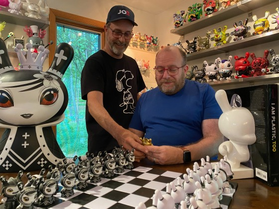 """Phil Gutis, right, with his husband Tim Weaver at their home in Solebury, Pa., July 2020. """"If you present a drug to me that might help to slow the deterioration, hell yes, yeah make it available,†says Gutis. """"That's the voice I feel is completely lost in all this.â€"""