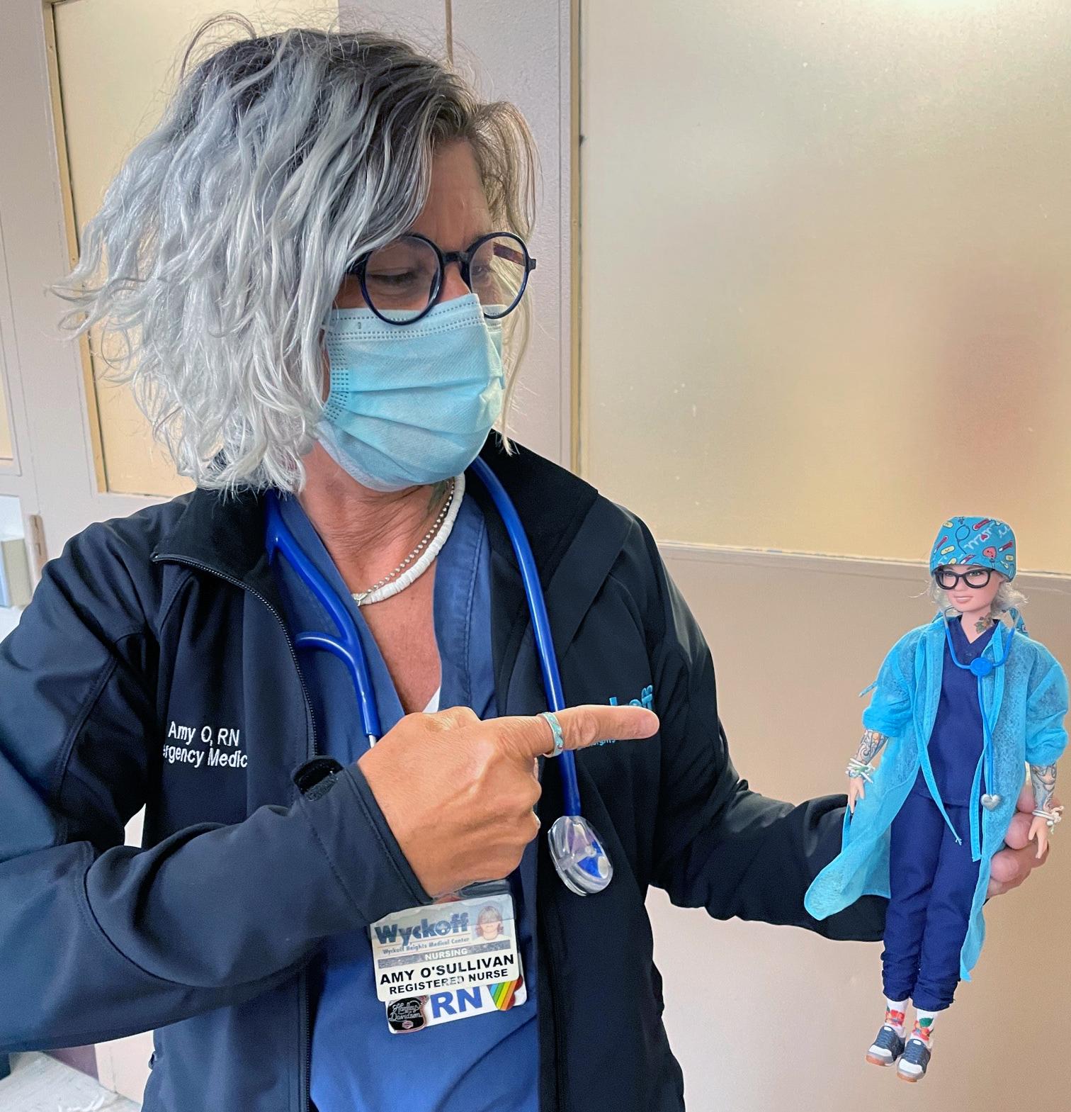 Nurse Amy O'Sullivan with the Mattel doll