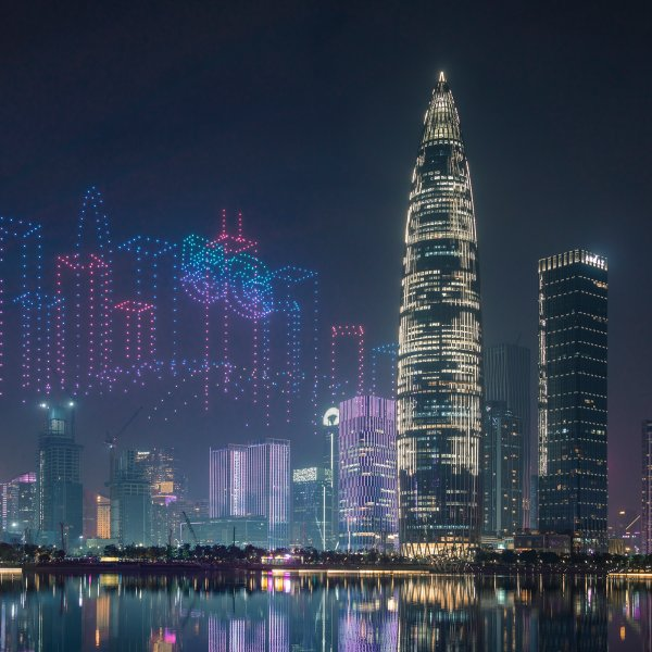 Hundreds of drones form a light show in Shenzhen, China, in December 2020