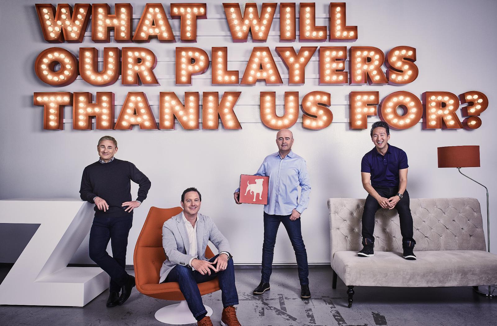 Zynga leadership, left to right, CEO Frank Gibeau, COO Matthew Bromberg, CFO Ger Griffin and President Bernard Kim.