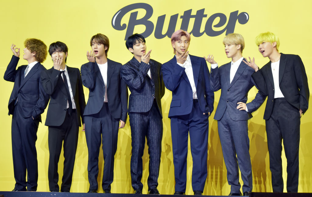 BTS attends a press conference for their new digital single 'Butter' at Olympic Hall on May 21, 2021 in Seoul, South Korea.
