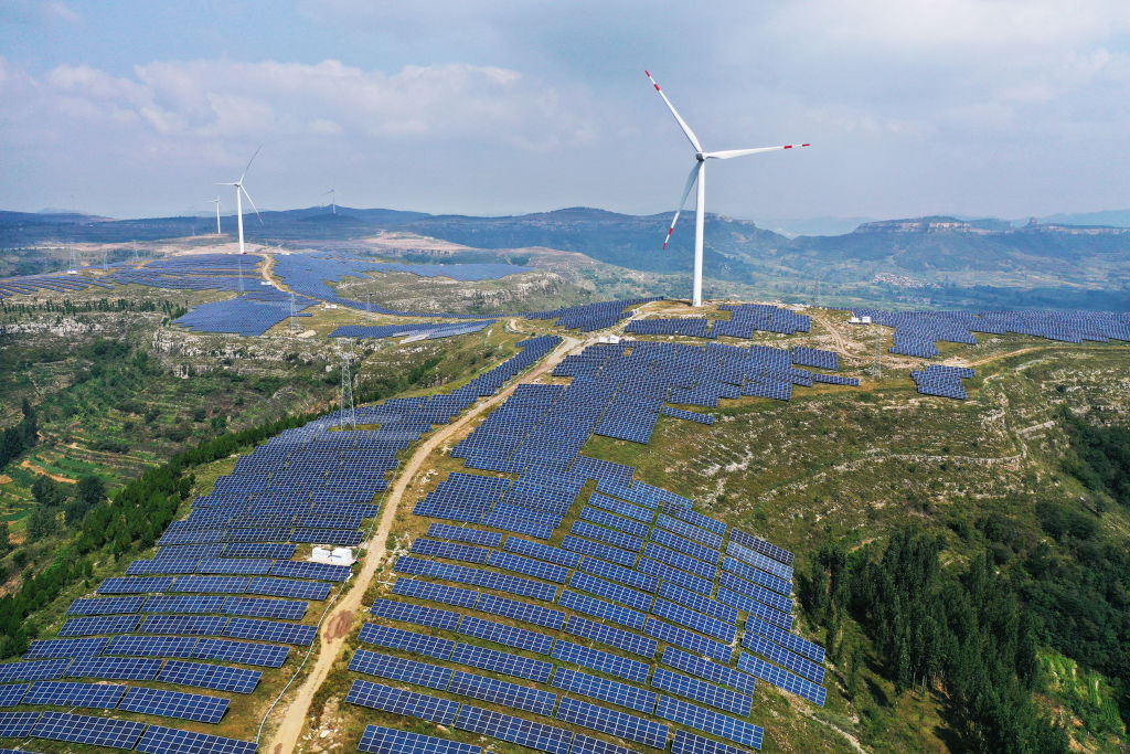 Aerial view of a wind-solar hybrid photovoltaic power station in Zaozhuang, Shandong Province of China on September 12, 2020.
