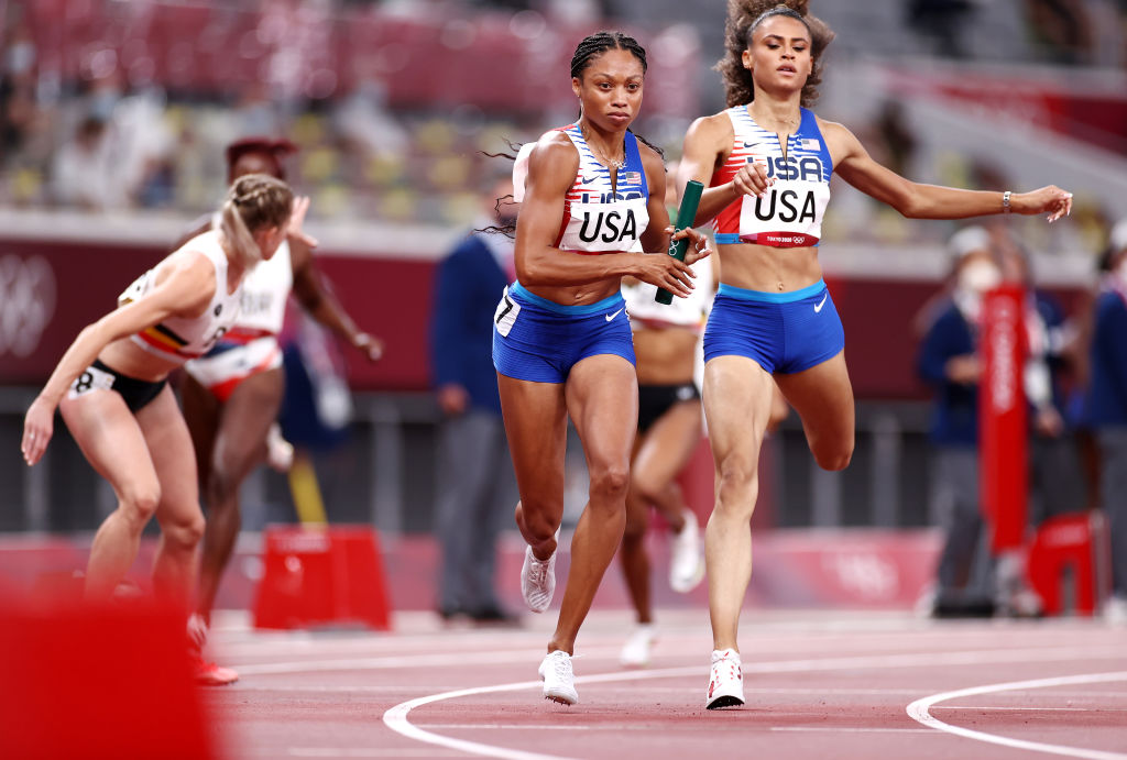 Allyson Felix of Team USA competes in the Women' s 4x400-m Relay Final on day fifteen of the Tokyo 2020 Olympic Games at Olympic Stadium on Aug. 07, 2021 in Tokyo, Japan.