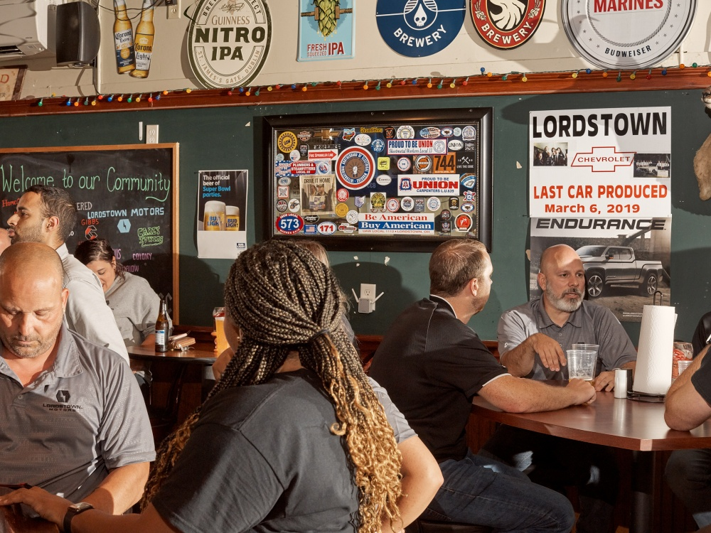Lordstown Motors employees gather after work at Ross' Eatery & Pub