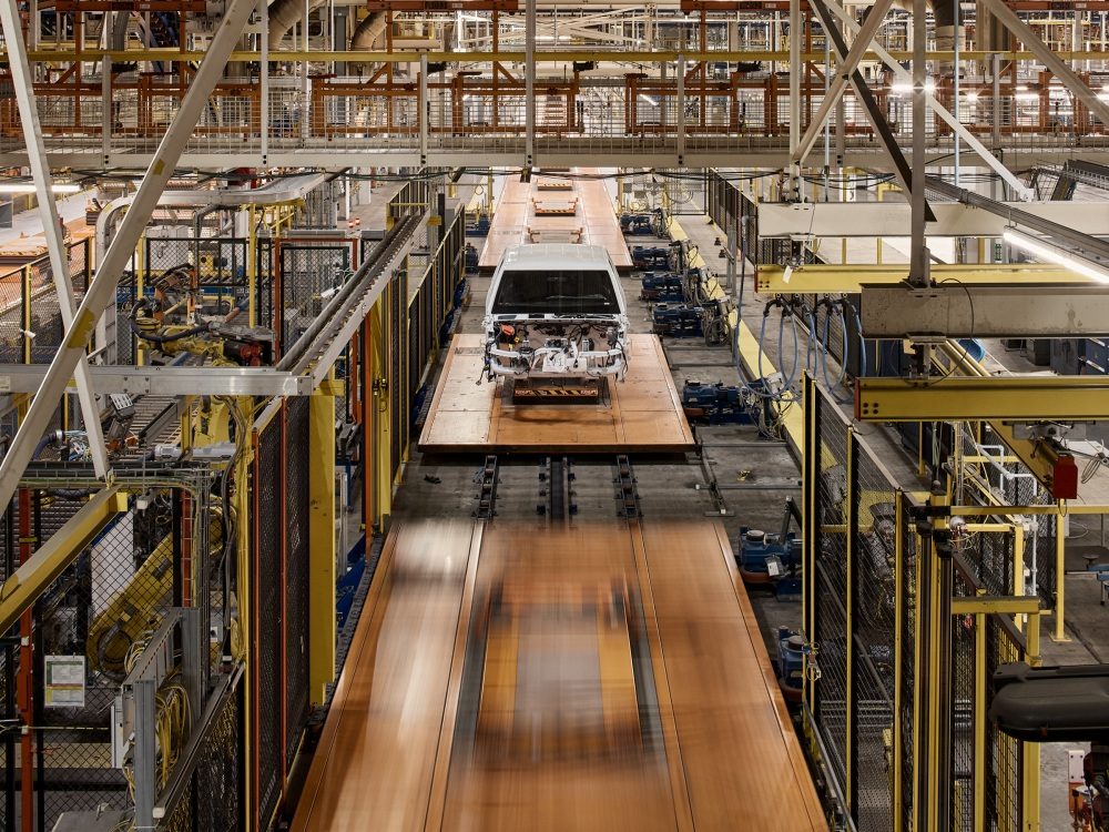 The shell of a Lordstown Motors pickup truck sits on the assembly line