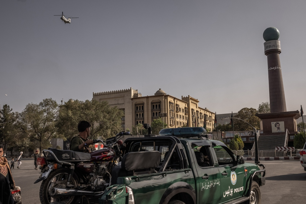 A helicopter leaves from the U.S. Embassy ahead of the Taliban's arrival in Kabul on Aug. 15, 2021.