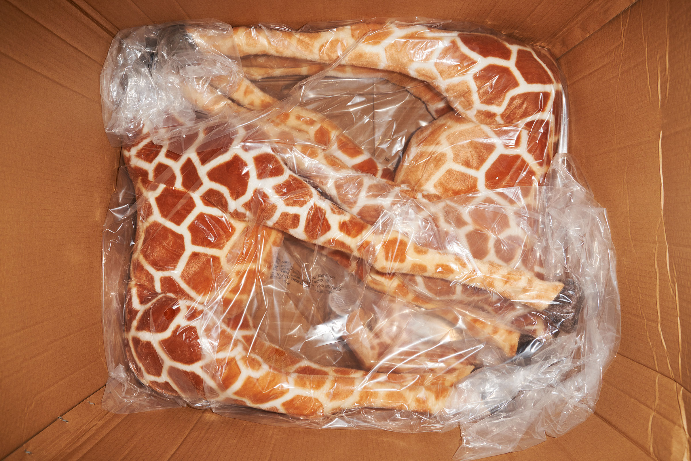 A shipment of toy giraffes at the Viahart distribution facility in Wills Point, Texas on  July 23, 2021.