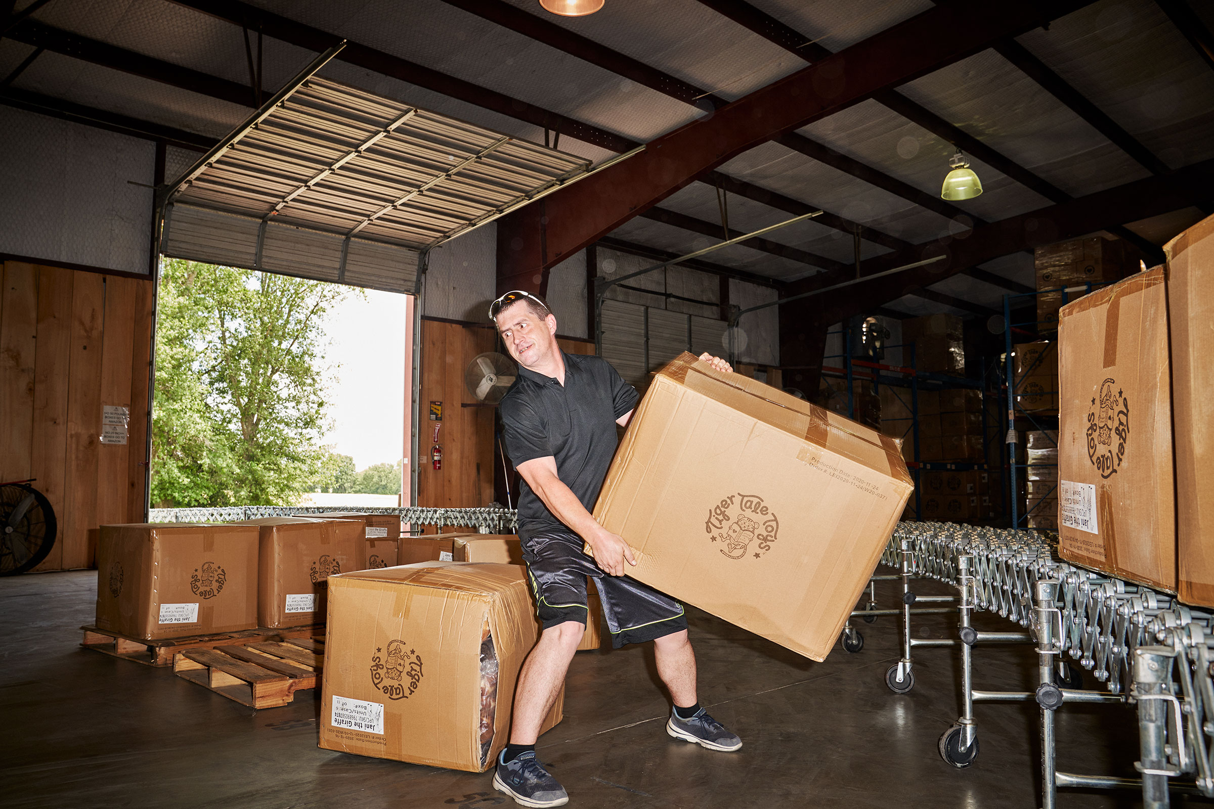 Boxes are sorted at the Viahart distribution facility in Wills Point, Texas on July 23, 2021.