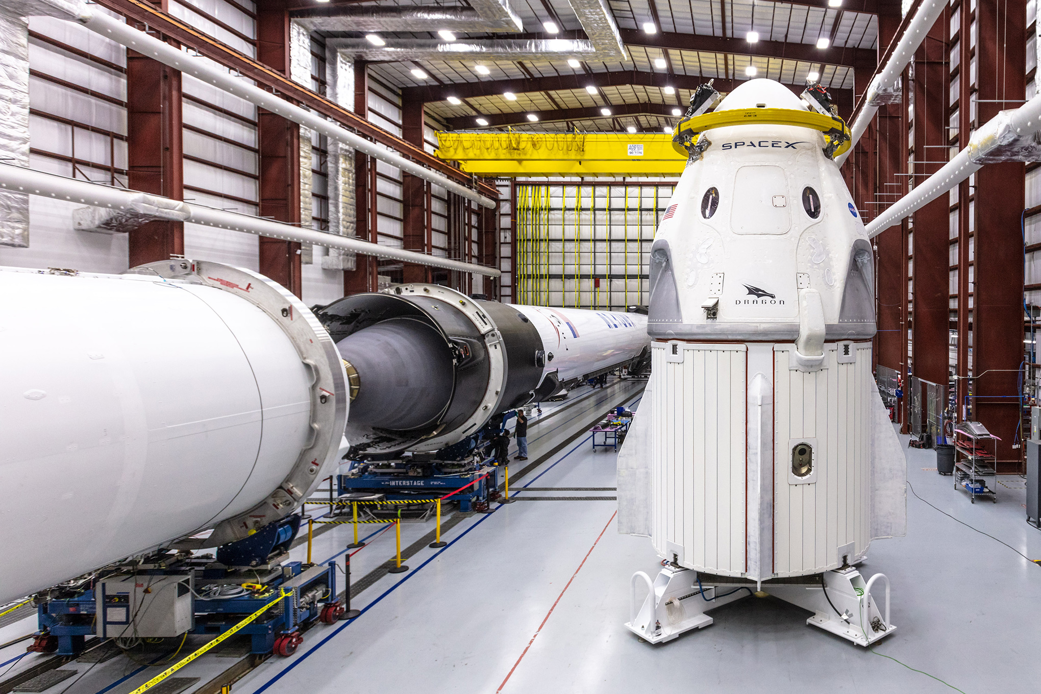 The Crew Dragon spacecraft before being mated to its Falcon 9 rocket (left); the Falcon's second stage is disposable, and the first stage returns to Earth, landing on a barge, to be refitted and reused.