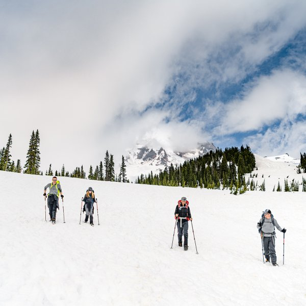 The Inspiration4 crew returns from Camp Muir on Mount Rainier on May 3, 2021.