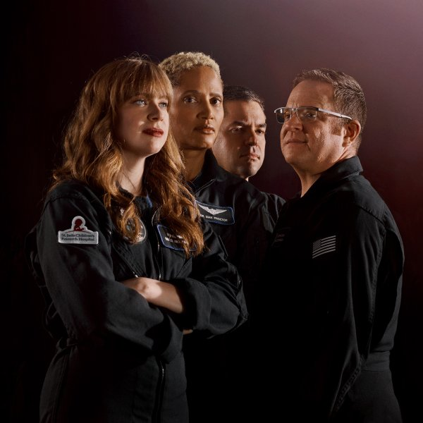 The crew of the Inspiration4, the world's first all-civilian mission to orbit. From left: Hayley Arceneaux, Dr. Sian Proctor, Jared Isaacman, and Chris Sembroski photographed in Los Angeles, July 2021.