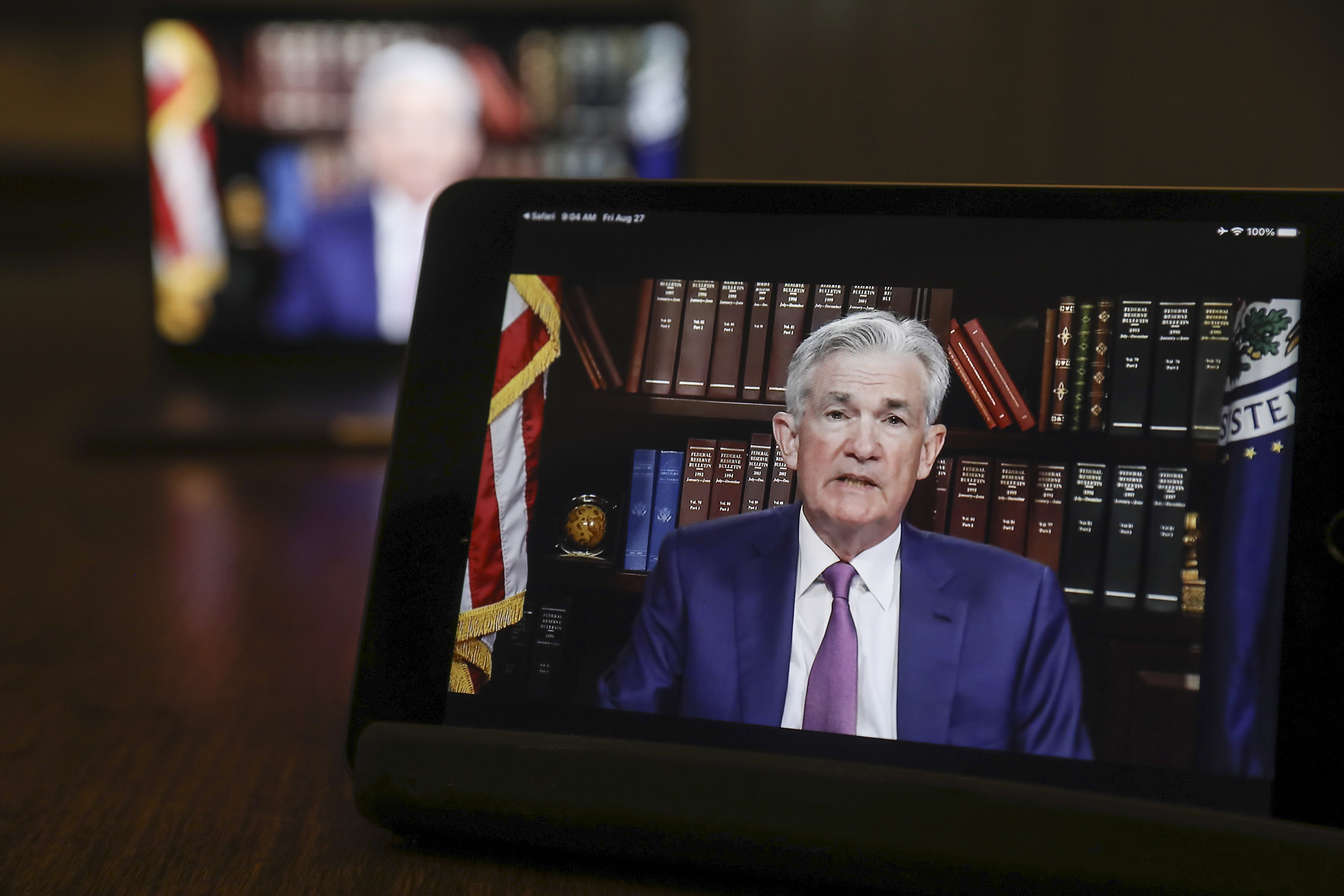Jerome Powell, chairman of the U.S. Federal Reserve, speaks virtually during the Jackson Hole economic symposium in Tiskilwa, Ill. on Aug. 27.