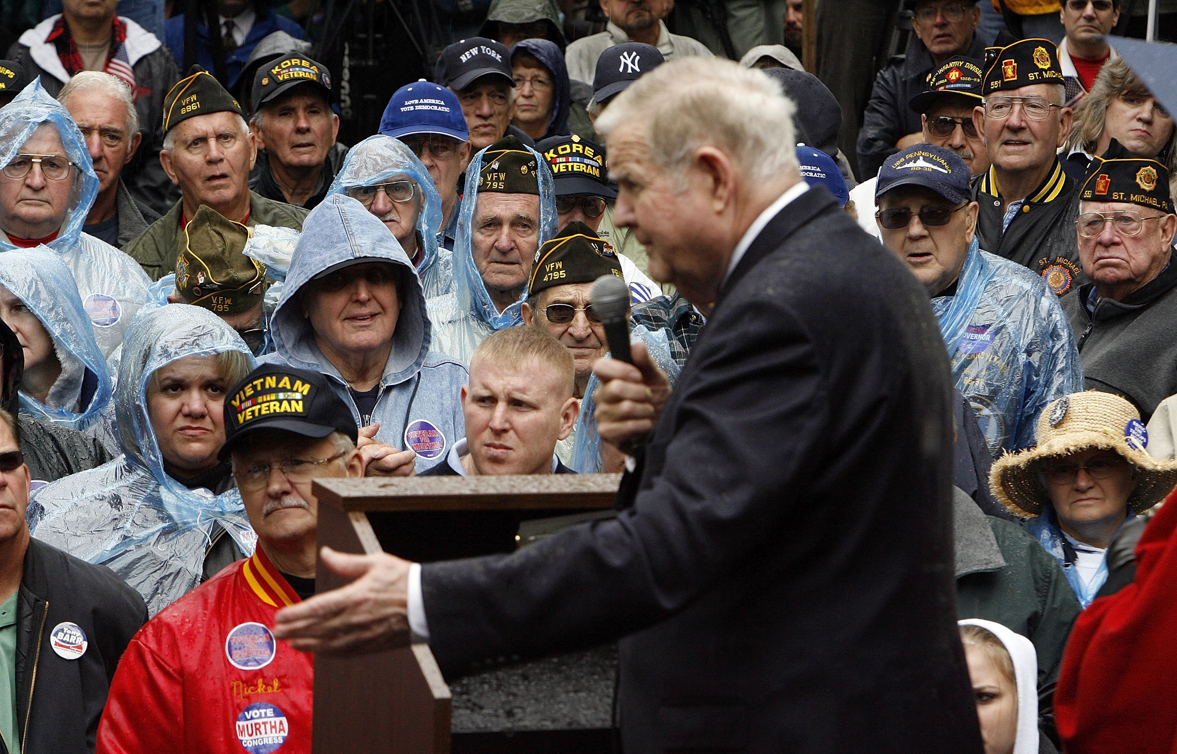 All eyes are on Rep. John Murtha (D-PA) as he addresses voters and veterans during a campaign rally in Johnstown, Pa., on Sept. 30, 2006. Murtha was the first Vietnam combat veteran elected to Congress in 1974.