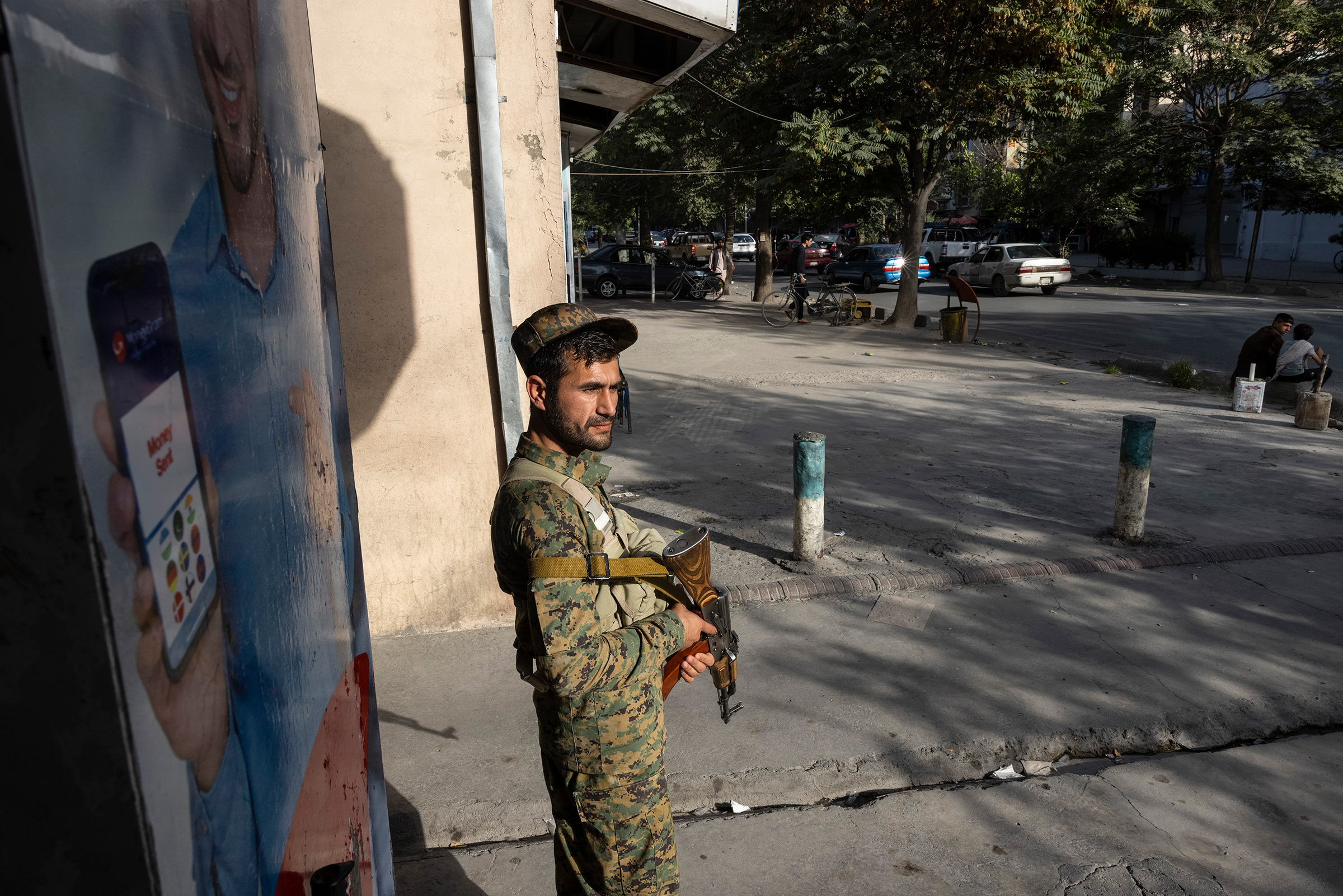 Kabul police secure areas in the central part of the city on Aug. 13, 2021.