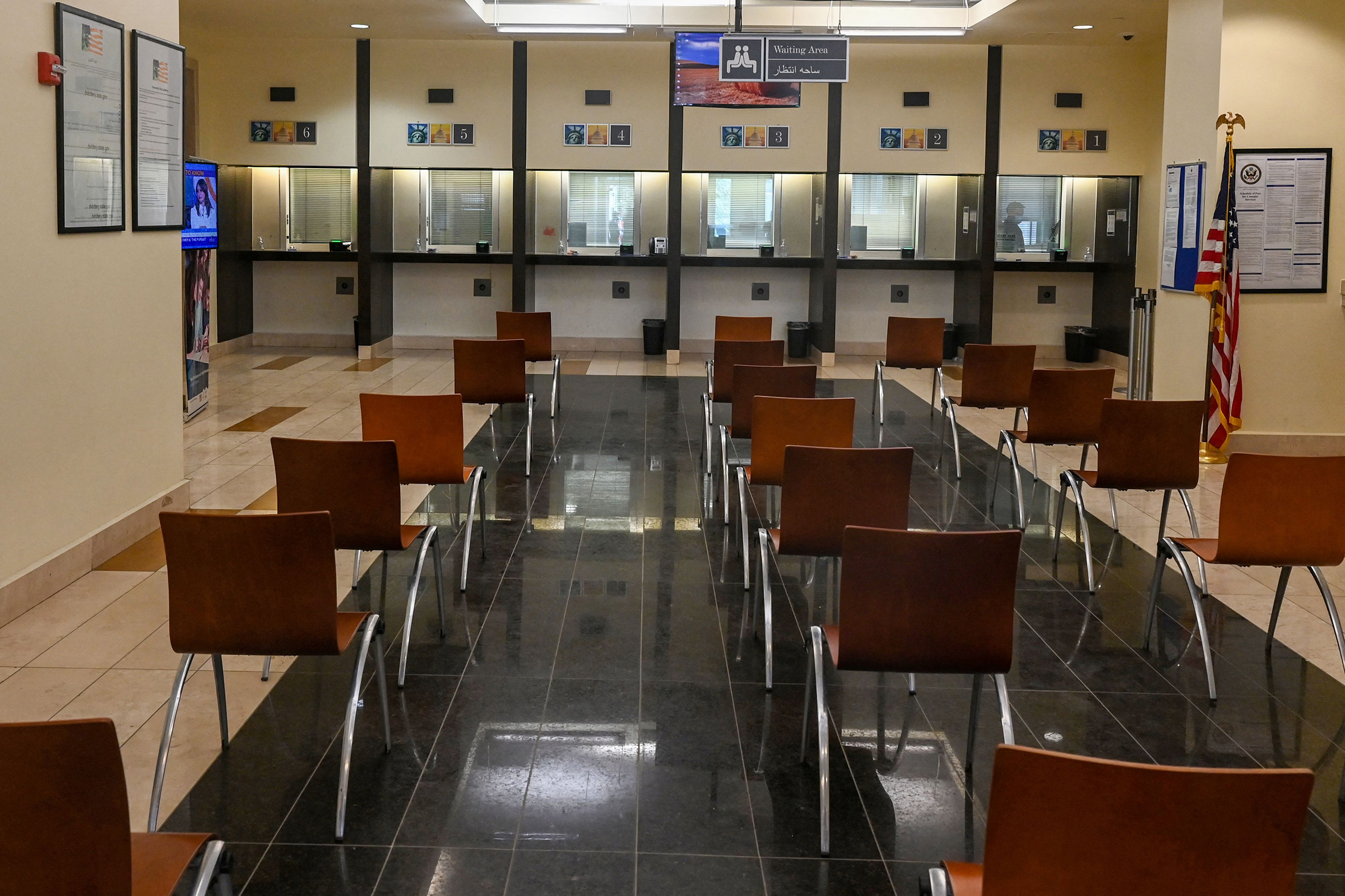 A deserted view of the consular section at the U.S. embassy in Kabul, Afghanistan on July 30, 2021.