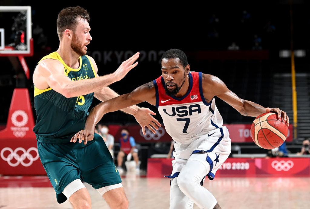 Kevin Durant of Team USA takes on the Nic Kay of Australia during the Tokyo Olympics men's basketball semifinal game at Saitama Super Arena on Aug. 5, 2021.