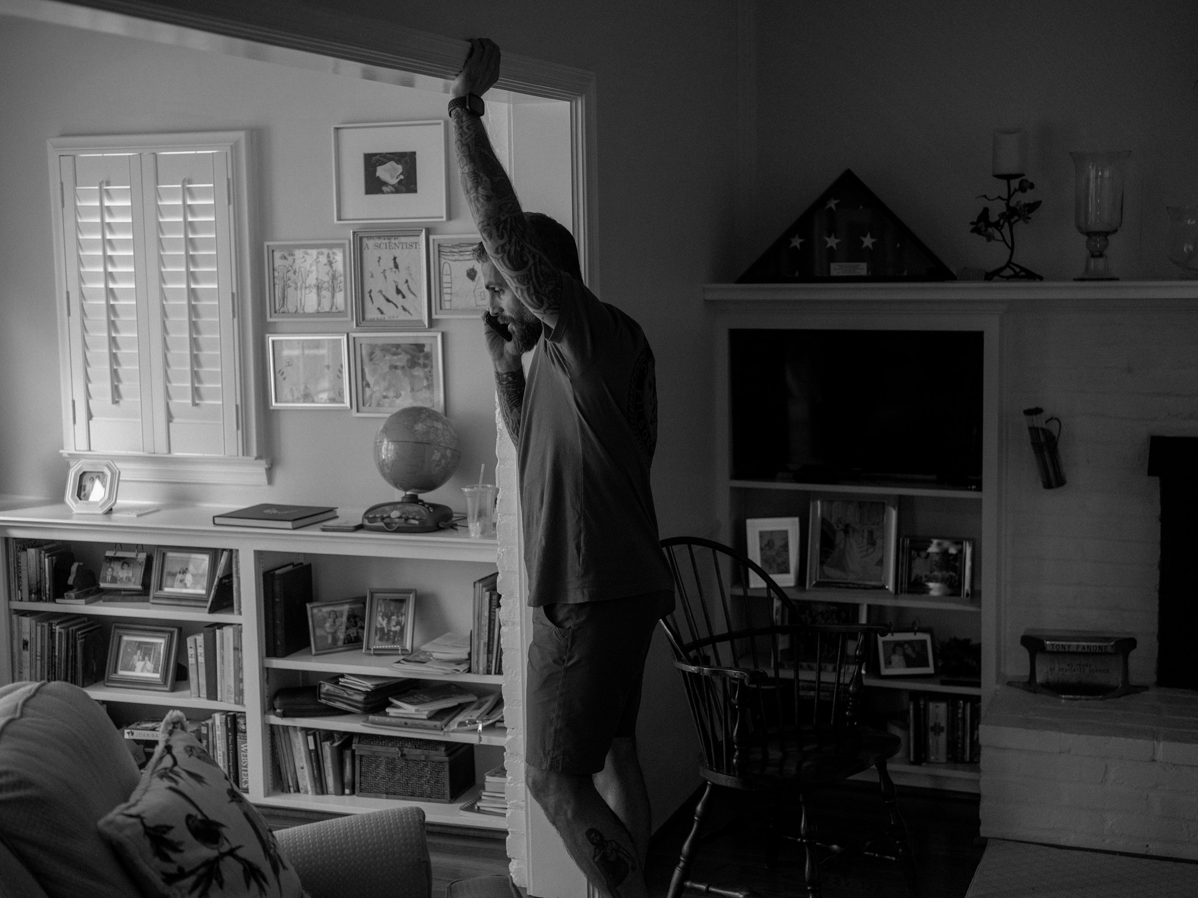 Fanone at his mother's home in Alexandria, Va., on July 28.