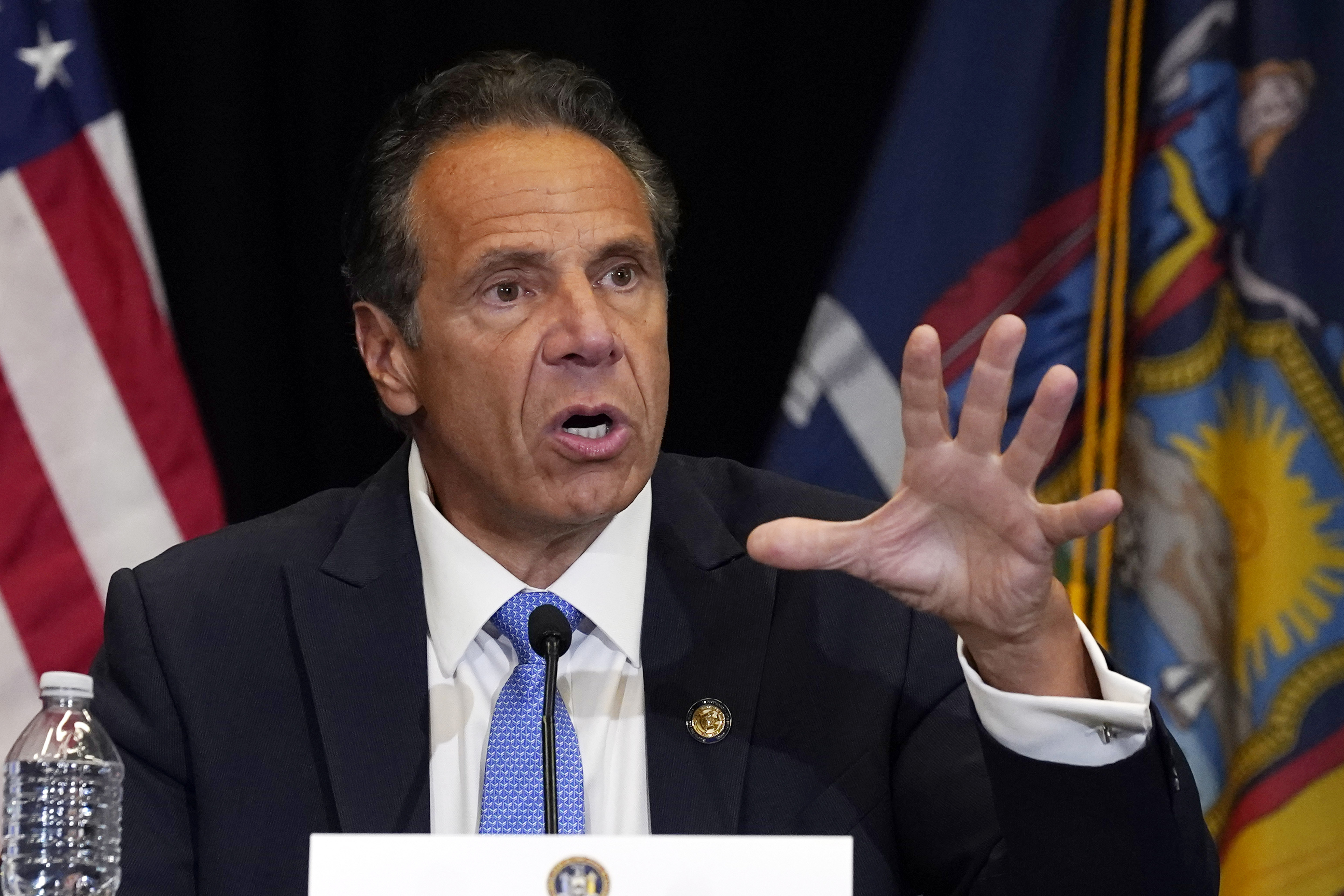 New York Gov. Andrew Cuomo speaks during a news conference at New York's Yankee Stadium, Monday, July 26, 2021. An investigation into New York Gov. Andrew Cuomo has found that he sexually assaulted multiple current and former state government employees. State Attorney General Letitia James announced the findings Tuesday.